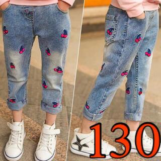 130 女の子 デニム パンツ 可愛い  ズボン キッズ さくらんぼ ジーンズ(パンツ/スパッツ)