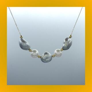 新作★ 南洋ケシパール xアコヤ真珠 k18yg イエローゴールド ネックレス(ネックレス)