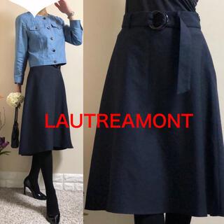 ロートレアモン(LAUTREAMONT)のロートレアモン 定価2.2万円 ベルト付き リネンタッチ スカート 38 M 紺(ひざ丈スカート)