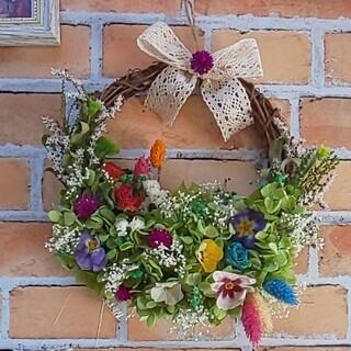 グリーンの紫陽花に春を待ちわびる小花たち(ドライフラワーリース)(ドライフラワー)