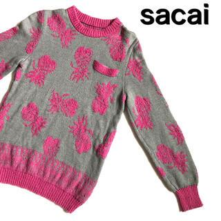 sacai - sacai サカイ セーター フルーツ柄 パイナップル柄 総柄 デザインニット