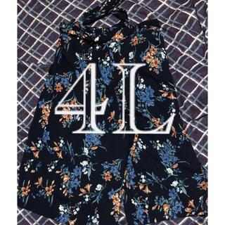 シマムラ(しまむら)のレディース ズボン.パンツ 花柄 紺色 ネイビー 4L(キュロット)
