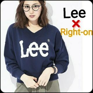 リー(Lee)のLee ライトオン 別注 Vネック ロゴ スウェット ネイビー 紺(トレーナー/スウェット)