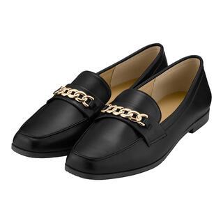 ジーユー(GU)のGU チェーンローファー ブラックS(ローファー/革靴)