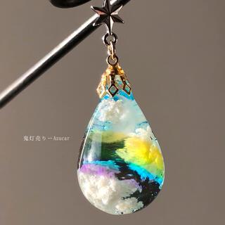 三日月に架かる虹 オルゴナイト 蓄光三日月 ドロップ ネックレス(ネックレス)