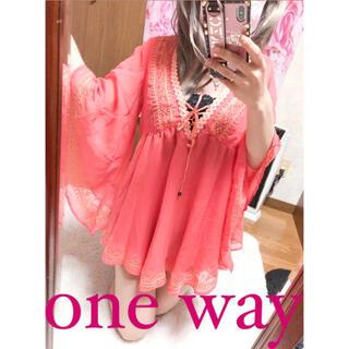ワンウェイ(one*way)の2990.one way 刺繍 バタフライスリーブ シフォン チュニック(チュニック)
