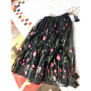 アベイル(Avail)の新品未使用タグ付き 刺繍スカート(ひざ丈スカート)