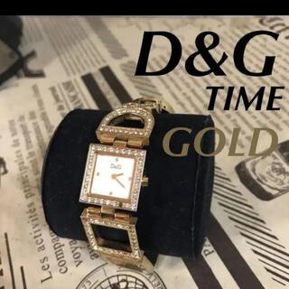 ドルチェアンドガッバーナ(DOLCE&GABBANA)の【人気】☆ D&G ドルガバ TIME  ゴールド ジルコニア付き 時計(腕時計)