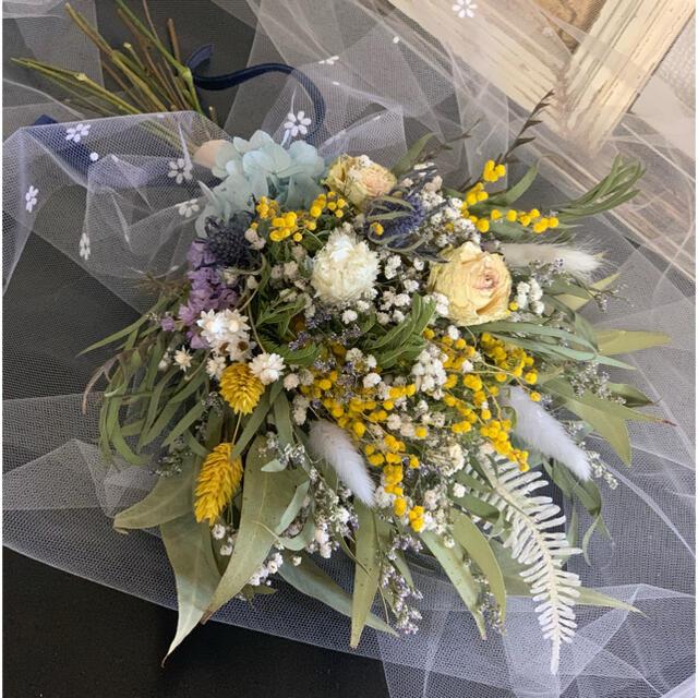 春香る花束ブーケ インテリアスワッグ 前撮り フォトブーケ ウェルカムスペース ハンドメイドのフラワー/ガーデン(ドライフラワー)の商品写真