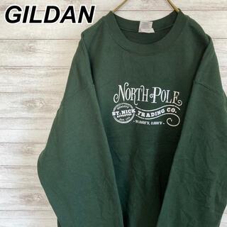 GILDAN - Lサイズ 古着 ギルダン スウェット 人気のグリーン ビッグシルエット