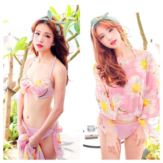 即発!カバーアップ付きビキニ♪ピンク レディースの水着/浴衣(水着)の商品写真