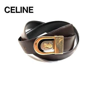 セリーヌ(celine)のCELINE セリーヌ 馬車 レザーベルト 金バックル  茶 セリーヌ(ベルト)