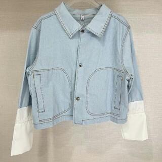 ロエベ(LOEWE)のファッションステッチレースライトブルーデニムジャケット(Gジャン/デニムジャケット)