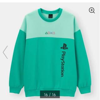 プレイステーション(PlayStation)の完売品 PlayStation ダブルフェイスビッグプルオーバー Lサイズ 緑(スウェット)