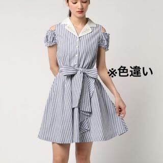 シークレットハニー(Secret Honey)の襟刺繍ストライプシャツワンピース(ミニワンピース)
