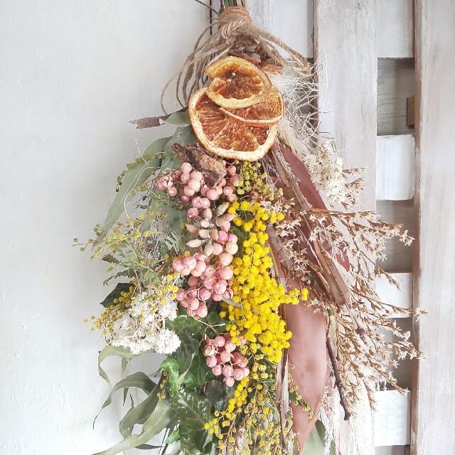 *Qoo様専用 ミモザ&オレンジ  ドライフラワースワッグ ハンドメイドのフラワー/ガーデン(ドライフラワー)の商品写真