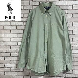 POLO RALPH LAUREN - 希少 90s ポロラルフローレン 長袖ボタンダウンシャツ 刺繍 ライトグリーンM
