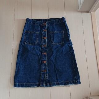 フロントボタン デニムスカート(ひざ丈スカート)