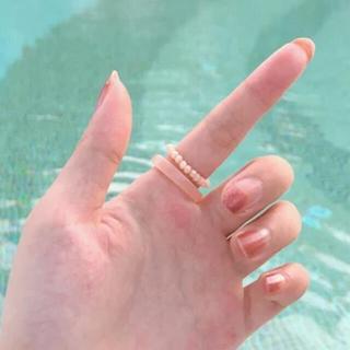 ■ピンク■ リング 韓国 クリア 樹脂 ビーズ アクセサリー (リング(指輪))