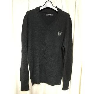 アズールバイマウジー(AZUL by moussy)のAZUL by moussy スカル ニット Mサイズ 黒 セーター ロック 服(ニット/セーター)