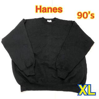 Hanes - 29 USA 古着 Hanes スウェット XL ブラック レア