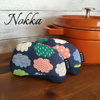 ストウブ(STAUB)の✧✧Nokkaリニューアル✧✧鍋つかみ✧ Nokka『ノッカ』雲柄ネイビー北欧風(キッチン小物)