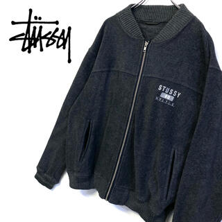 STUSSY - 美品 STUSSY フリース ブルゾン 刺繍ロゴ メンズL グレー