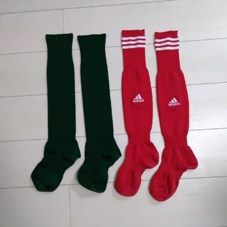 アディダス(adidas)のサッカーソックス 2足セット 小学中学年 高学年 サイズ不明 中古キレイめ(その他)