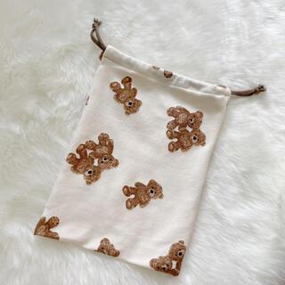 くまの巾着袋 パジャマ袋 着替え袋(外出用品)