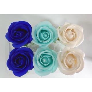 ソープフラワー花材♡ローズヘッド(ブルー) 6輪(その他)