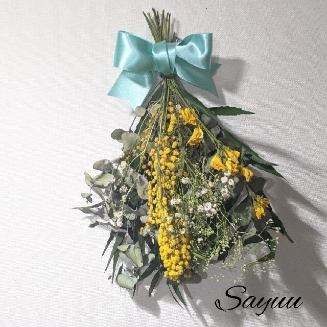 ドライフラワースワッグ ブーケ Spring B1ミモザ ハンドメイドのフラワー/ガーデン(ドライフラワー)の商品写真