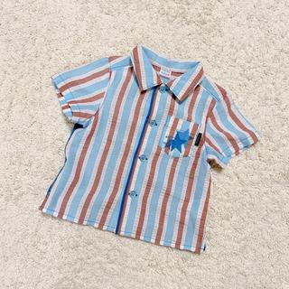 ハッカベビー(hakka baby)のhakka baby  ストライプ半袖シャツ  80cm(シャツ/カットソー)