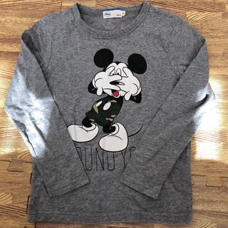 Disney - 130 グレー ロンT ミッキー