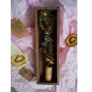 ラクマ便[木目]フレッシュもみの木木箱パリカフェ風シャビークリスマスツリ(ドライフラワー)