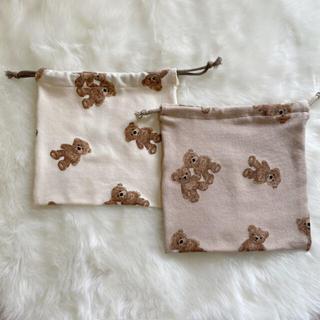 くまの巾着袋 おむつポーチ(外出用品)