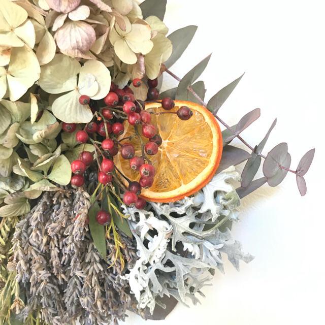 orange×red  ドライフルーツ×野バラの実のドライフラワースワッグ  ハンドメイドのフラワー/ガーデン(ドライフラワー)の商品写真