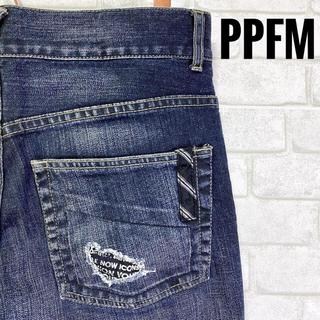 PPFM - PPFM ピーピーエフエム ストレッチデニム クラッシュ リペア加工