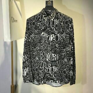 Dior - 新しいファッションフルプリントのロゴシルクシャツ