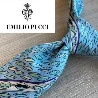 エミリオプッチ(EMILIO PUCCI)の【高級】エミリオプッチ イタリア製最高級シルク100%ネクタイ ブルー 青(ネクタイ)