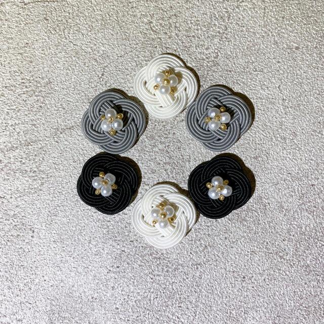 水引*菜の花結び❁グレー ハンドメイドのアクセサリー(ピアス)の商品写真