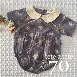新作❁*ブロード 花柄 ロンパース70 tete a tete(ロンパース)
