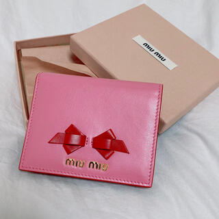 miumiu - miumiu リボン バイカラー 折り財布 中古品