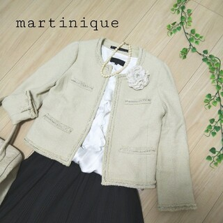 マルティニークルコント(martinique Le Conte)のマルティニーク ノーカラージャケット ベージュ 卒業式 入学式(ノーカラージャケット)