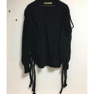 アンスクウィーキー(UNSQUEAKY)のアンスクウィーキー  三つ編みニット リボン 変形 セーター(ニット/セーター)