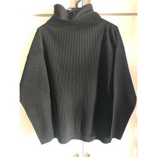 イッセイミヤケ(ISSEY MIYAKE)のオムプリッセ ハイネック 黒 サイズ2(Tシャツ/カットソー(七分/長袖))