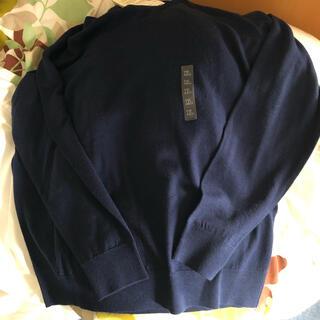 UNIQLO - ユニクロ エクストラファインメリノクルーネックセーター ネイビー XL