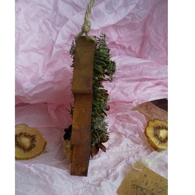 (ラクマ便)流木ハンガー付き星の王子様タグとドライもみの木のオーナメント ハンドメイドのフラワー/ガーデン(ドライフラワー)の商品写真
