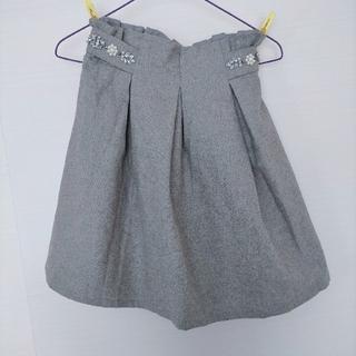 ページボーイ(PAGEBOY)のPAGEBOY グレーのビジューフレアスカート(ひざ丈スカート)