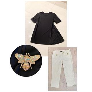 ドルチェアンドガッバーナ(DOLCE&GABBANA)の幸せを運ぶパステルの蜂さん3点コーデセット ドルガバパンツ&DKNY Tシャツ(ブローチ/コサージュ)