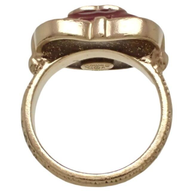 CHANEL(シャネル)のシャネル ココマーク ハート リング メタル(GP) 赤 40800063791 レディースのアクセサリー(リング(指輪))の商品写真